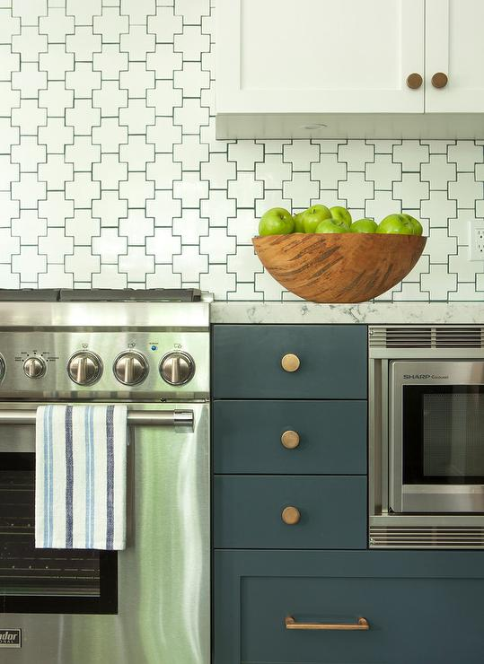 White And Blue Kitchen With Geometric Tiles