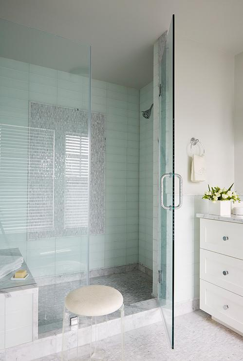 Gray Mosaic Shower Floor Design Ideas