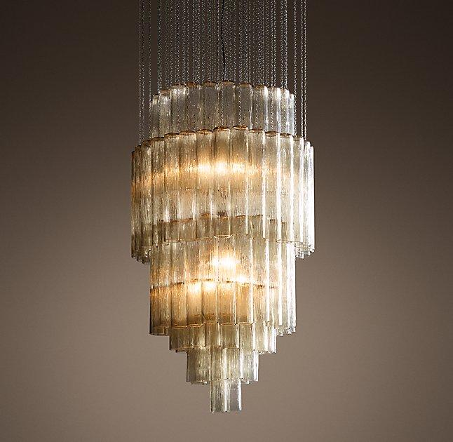 Serenella tubular glass chain tiered chandelier mozeypictures Gallery