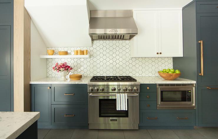 White And Blue Kitchen Design Contemporary Kitchen