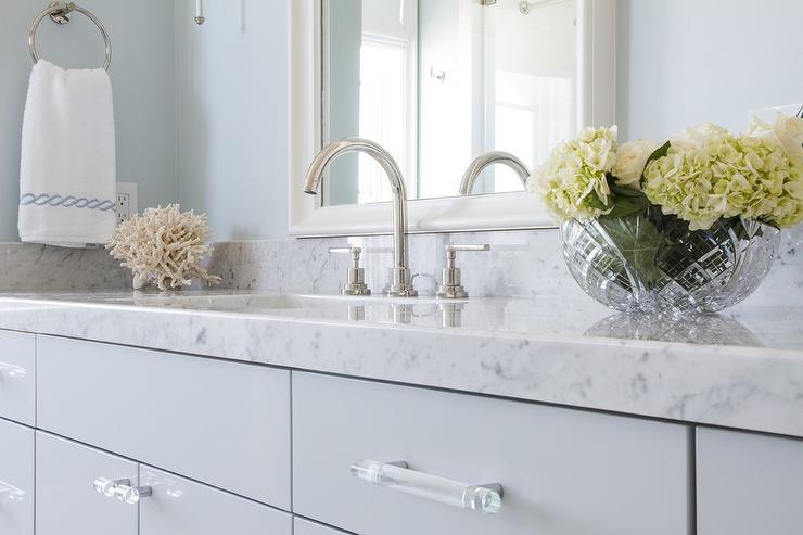 Blue Bath Vanity with Glass Pulls - Transitional - Bathroom