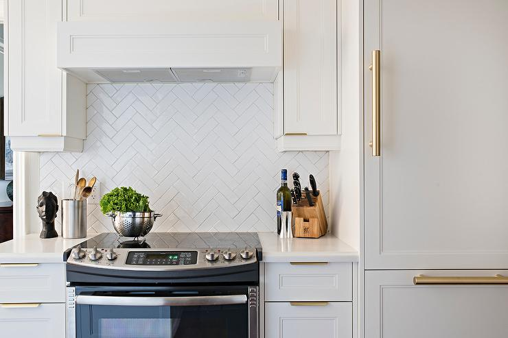 White Kitchen Herringbone Backsplash stainless steel herringbone kitchen backsplash tiles design ideas