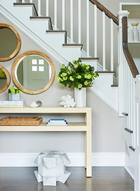 Staircase Wall Console Table Transitional Entrance Foyer