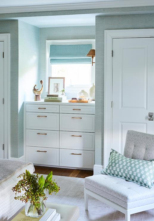 Bedroom Dresser Nook Flanked By His And Her Closets