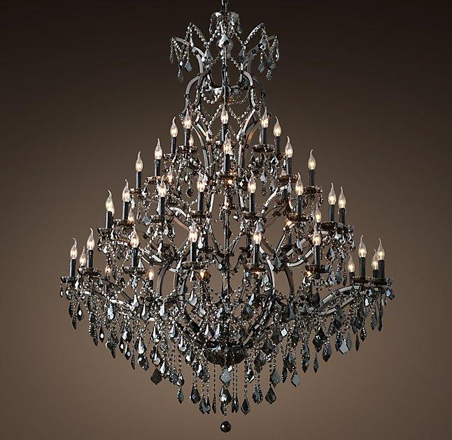 Rococo black iron crystal round chandelier aloadofball Image collections
