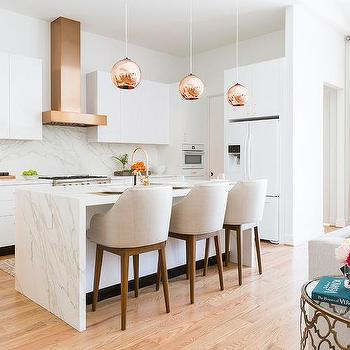 White Kitchen Cabinets with Copper Cup Pulls and Copper ...