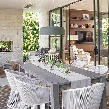 Cream Stone Outdoor Fireplace