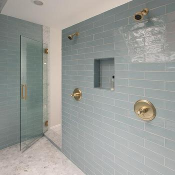 Superbe Blue Glass Shower Tiles With White Marble Hex Shower Floor Tiles