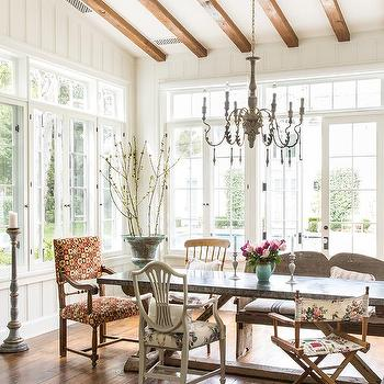 Gray French Candle Chandelier With Trestle Dining Table