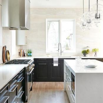White Quartz Waterfall Kitchen Island Design Ideas