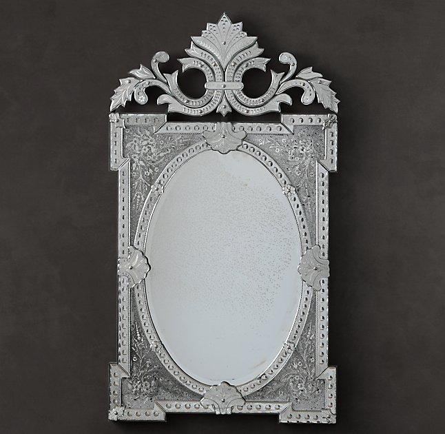rococo silver floral etched mirror