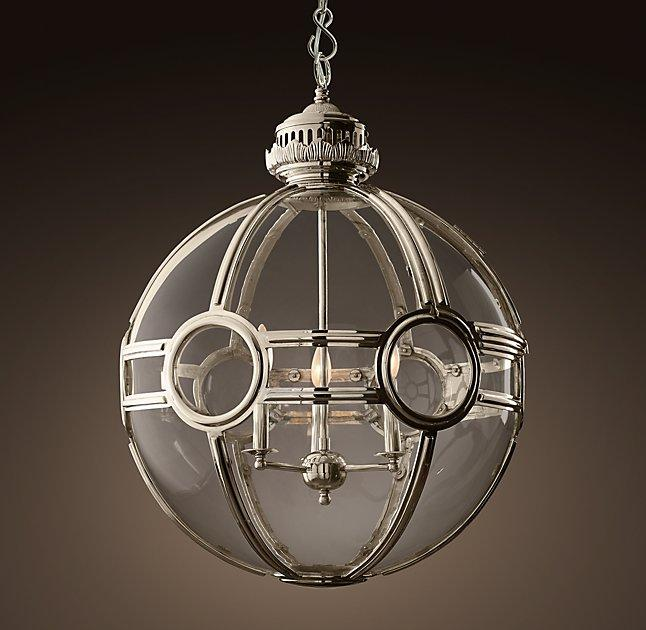 Victorian Kitchen Lighting: Victorian Silver Metal Glass Globe Pendant