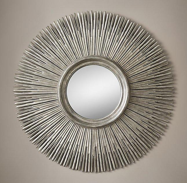 Round Silver Wood Sunburst Mirror