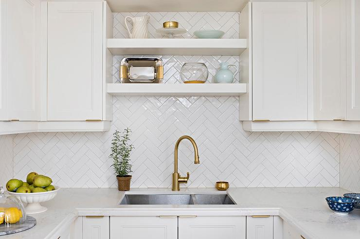 White Kitchen Herringbone Backsplash white herringbone kitchen sink tiles design ideas