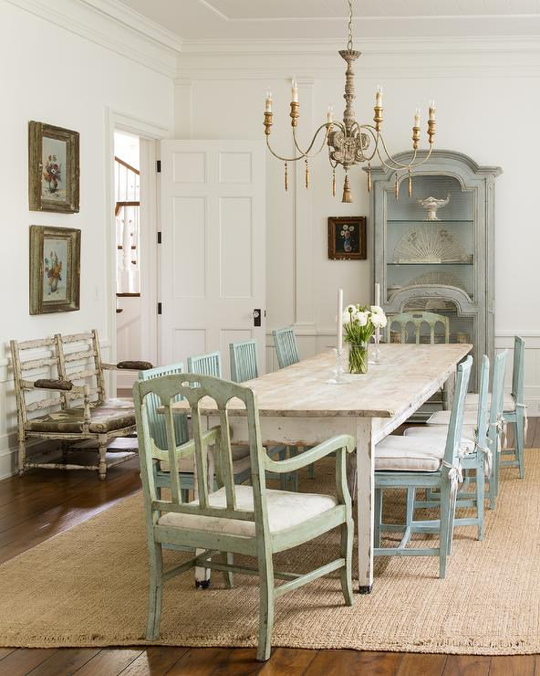 Turquoise Blue Dining Chairs With Whitewashed Dining Table Cottage Dining Room