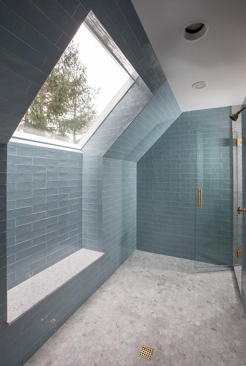 Large marble walk in shower with white quartz bench for Huge walk in shower