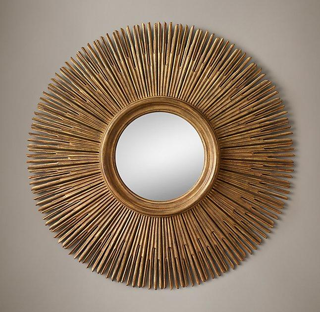 Well known Round Gold Wood Sunburst Mirror YS82