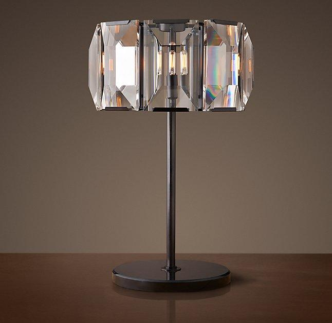 Harlow Round Prism Crystal Panels Table Lamp