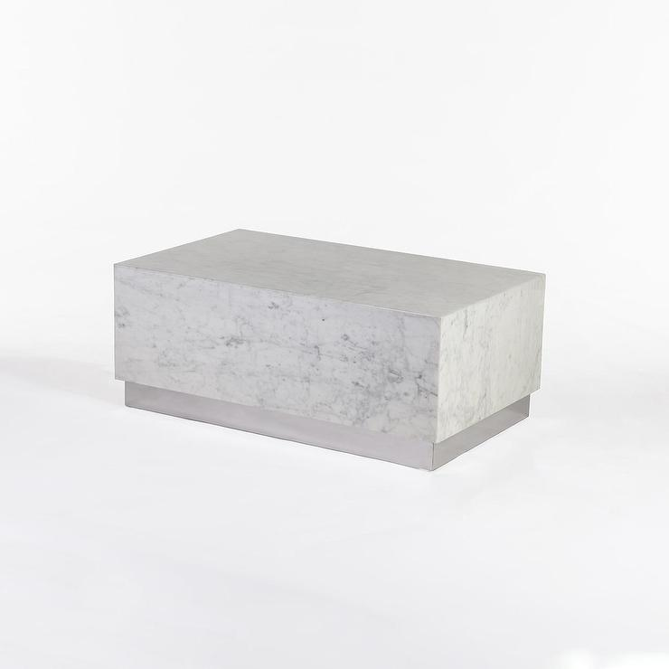 Eindride White Marble Block Coffee Table - Rectangle white marble coffee table