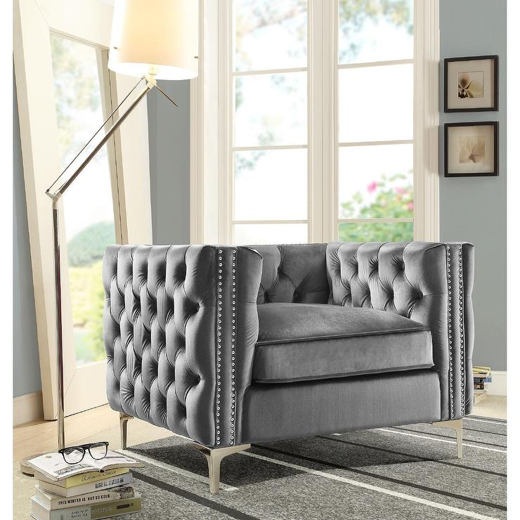 Monet Button Tufted Velvet Gray Club Chair