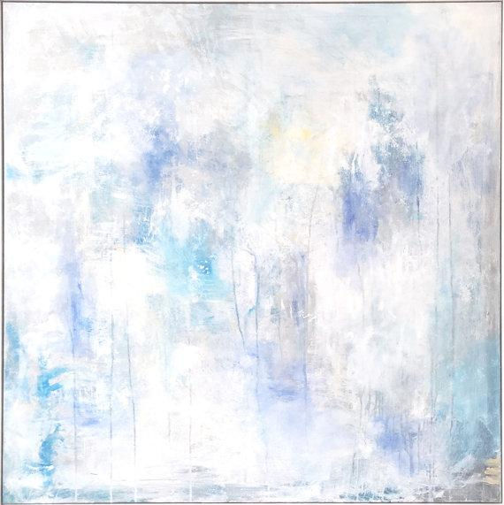 Large Square Blue Abstract Wall Art