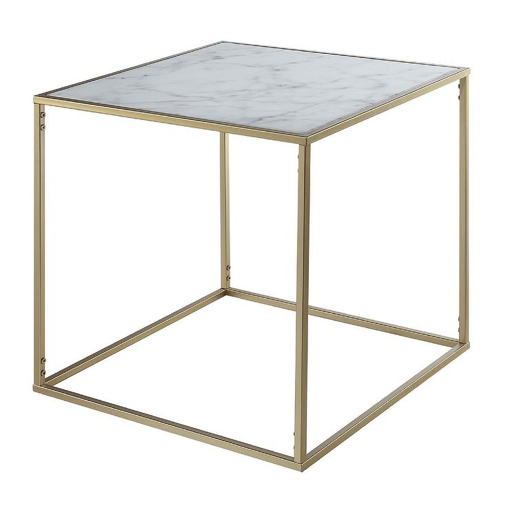 Convenience concepts gold square marble end table watchthetrailerfo