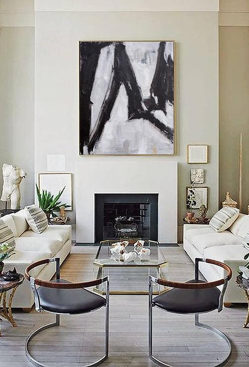 Black White Zigzag Abstract Oil Painting