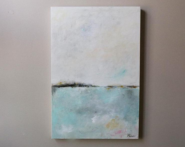 Morning Horizon White And Blue Abstract Painting