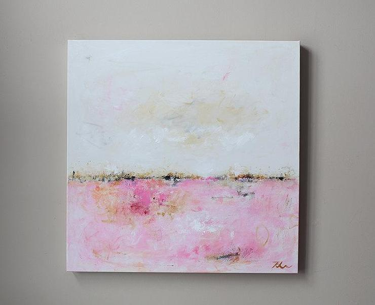 Original Abstract Landscape Oil Painting White By