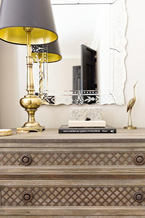 Gray Nightstand With Lattice Drawer Front Inlays