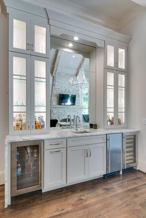 Mirror over wet bar sink cottage dining room - Wet bar cabinets ...