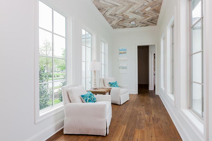 Wood Herringbone Ceiling Cottage Entrance Foyer