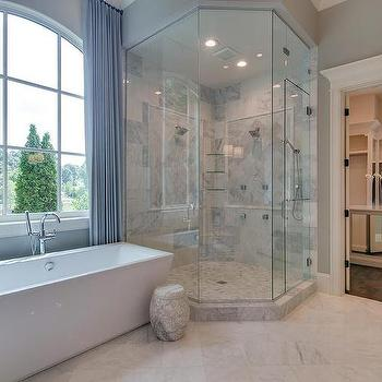 Blue Quatrefoil Floor Tiles Cottage Bathroom