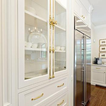 Glass Front Kitchen Cabinets With Polished Brass Cremone