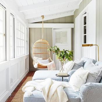 Sunroom With Shiplap Walls Transitional Home Exterior