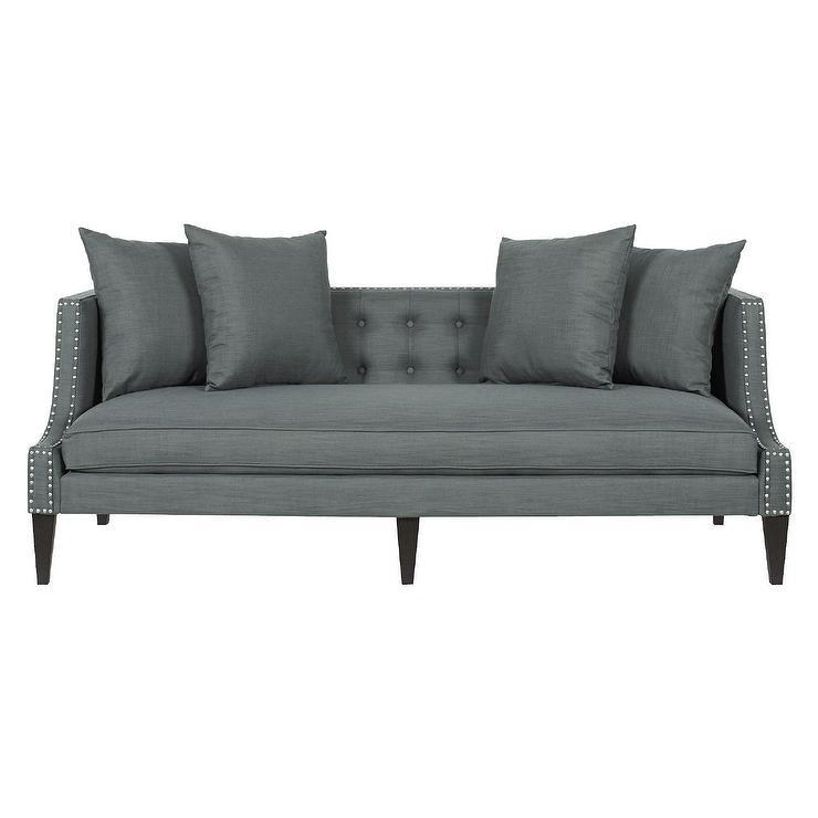 Astounding Lyda Caroline Gray Button Tufted Sofa Pabps2019 Chair Design Images Pabps2019Com