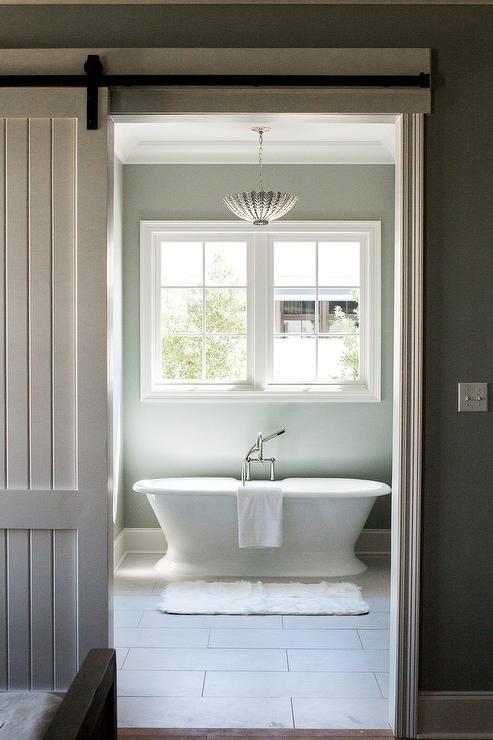 Gray Plank Barn Bathroom Door On Rails