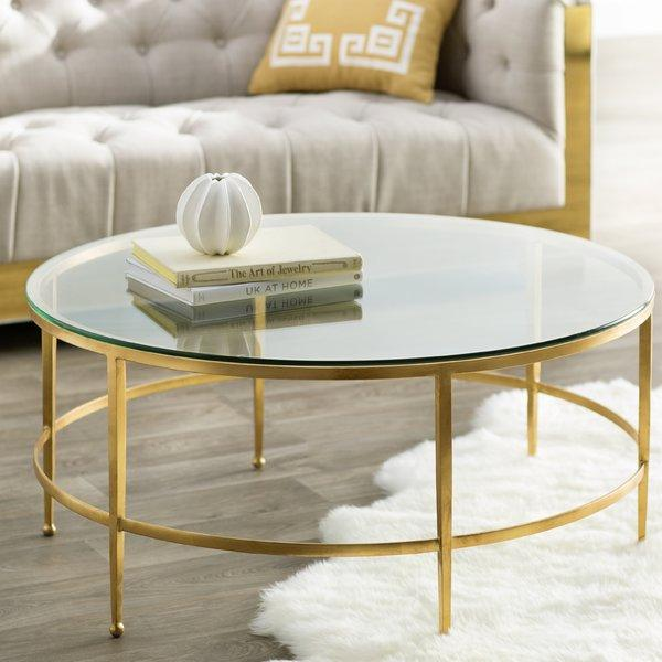Round Glass Coffee Table Gold Best Home Interior - Glass coffee table with gold trim