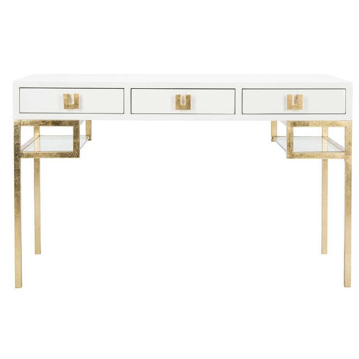 White And Gold Desk Build Your Own Standing Desk