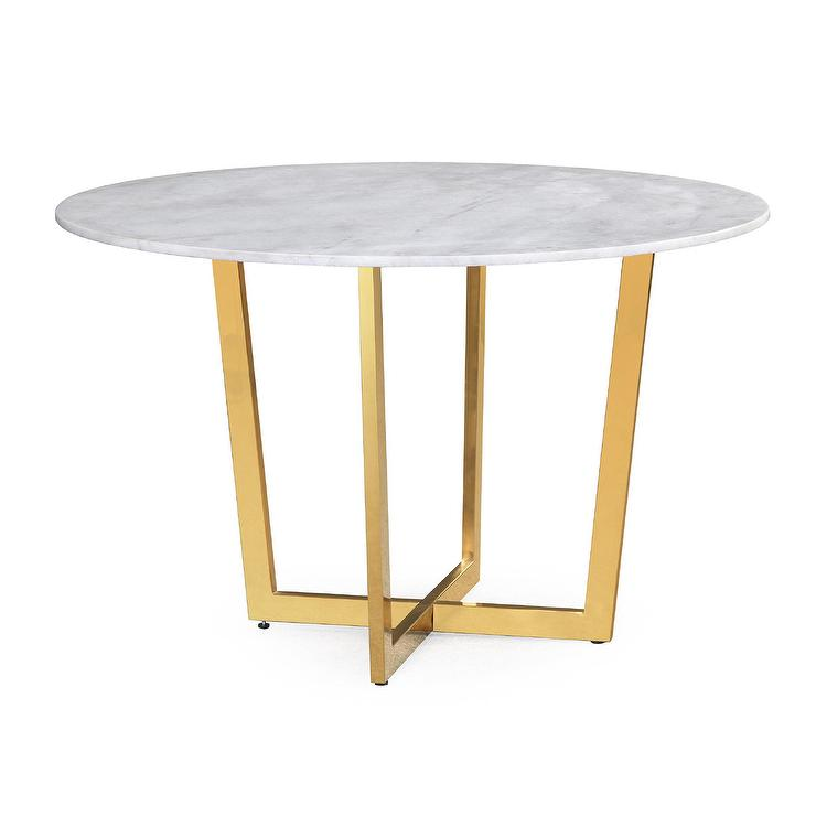Khloe Round White Gold Dining Table