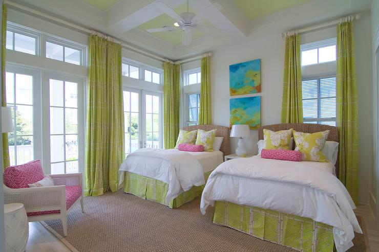 chartreuse green curtains with seagrass headboard