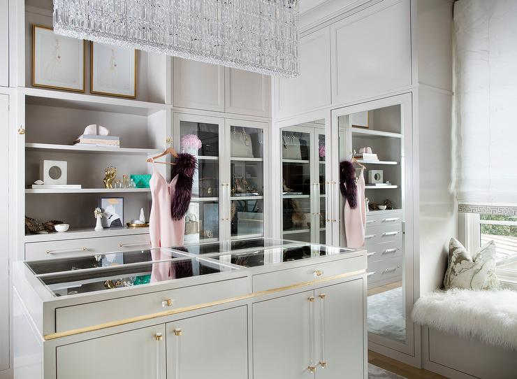 Glam Walk In Closet With Glass Top Jewelry Island
