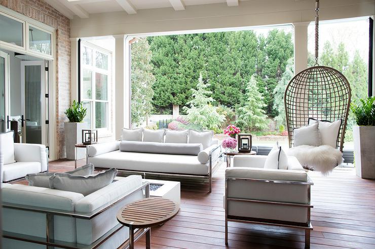 Chrome Outdoor sofa and Chairs with White Cushions Transitional