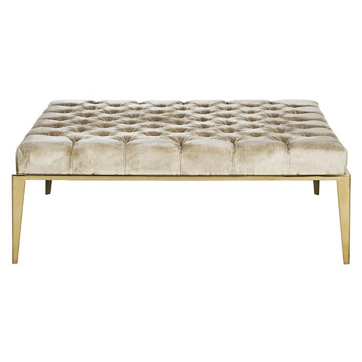 Astonishing Kirkham Beige Velvet Tufted Ottoman Customarchery Wood Chair Design Ideas Customarcherynet