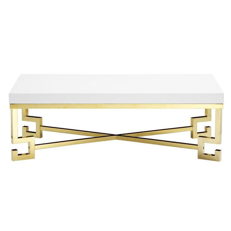 Delightful Flynn Gold Greek Key Coffee Table