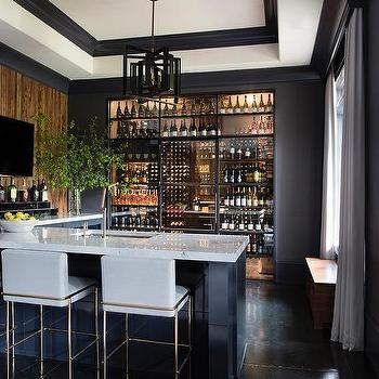 Black Wet Bar Cabinets With Black And White Marble Transitional Kitchen
