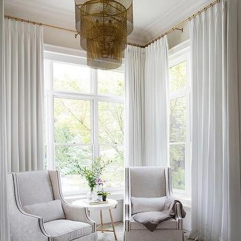Bedroom Antique Brass Curtain Rods Design Ideas
