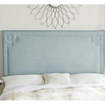 kubrick blue greek key nailhead headboard