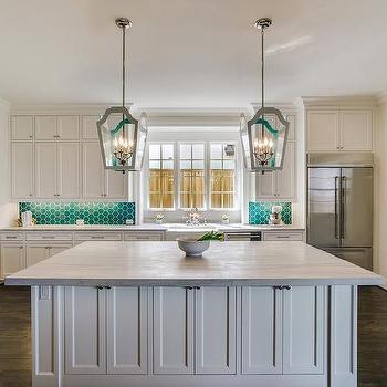 White Macaubas Quartzite Transitional Kitchen