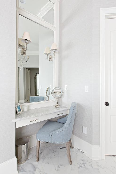 Blue Vanity Chair with Floating Makeup  Transitional